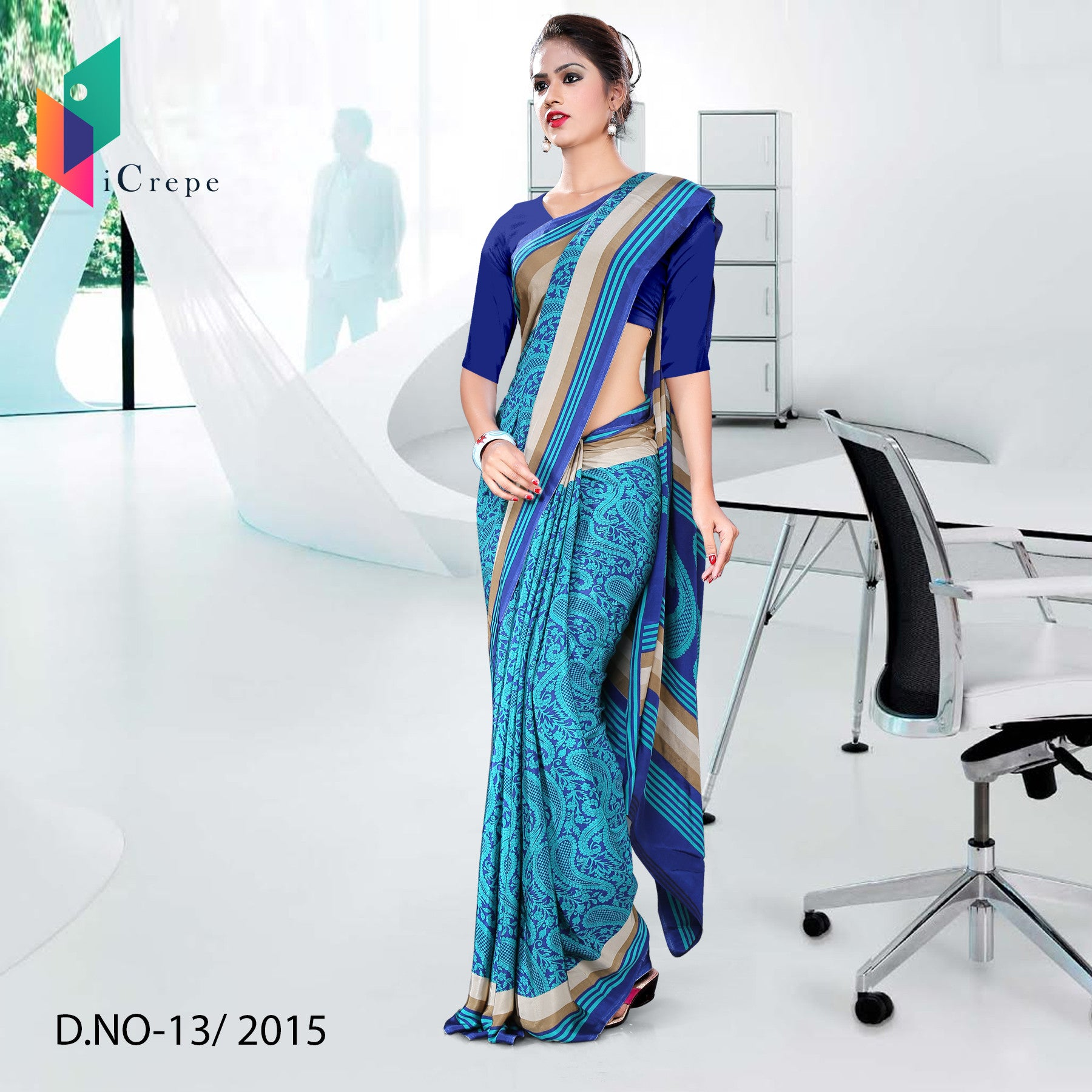 Dark Blue Italian crepe uniform saree