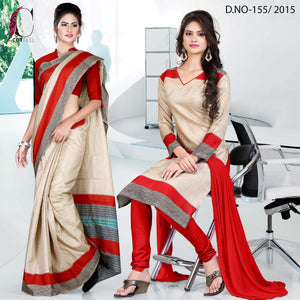 Red and beige uniform saree salwar combo