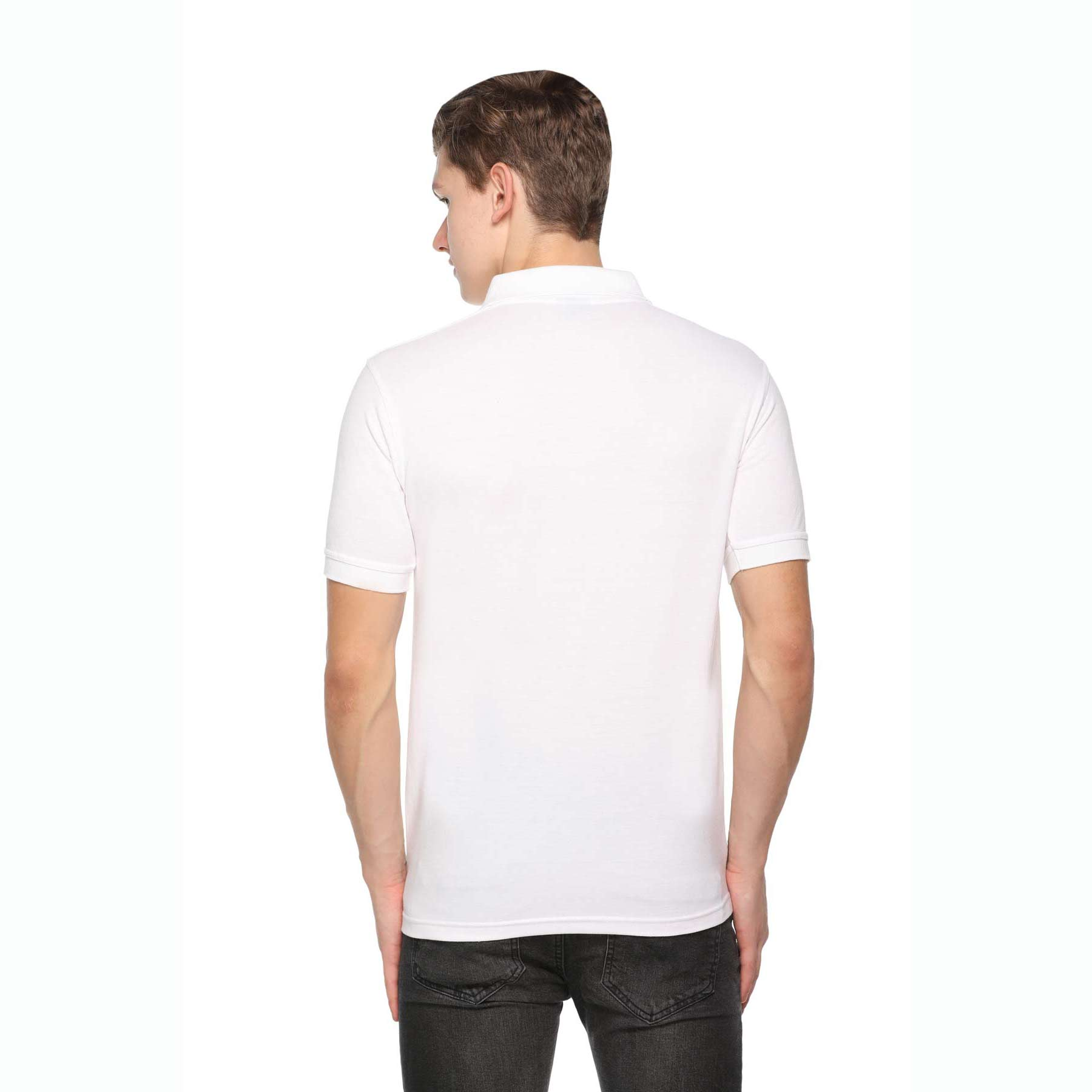 Men's Solid Cotton Blend Regular Fit Polo Neck Half Sleeve Fastees T-Shirt