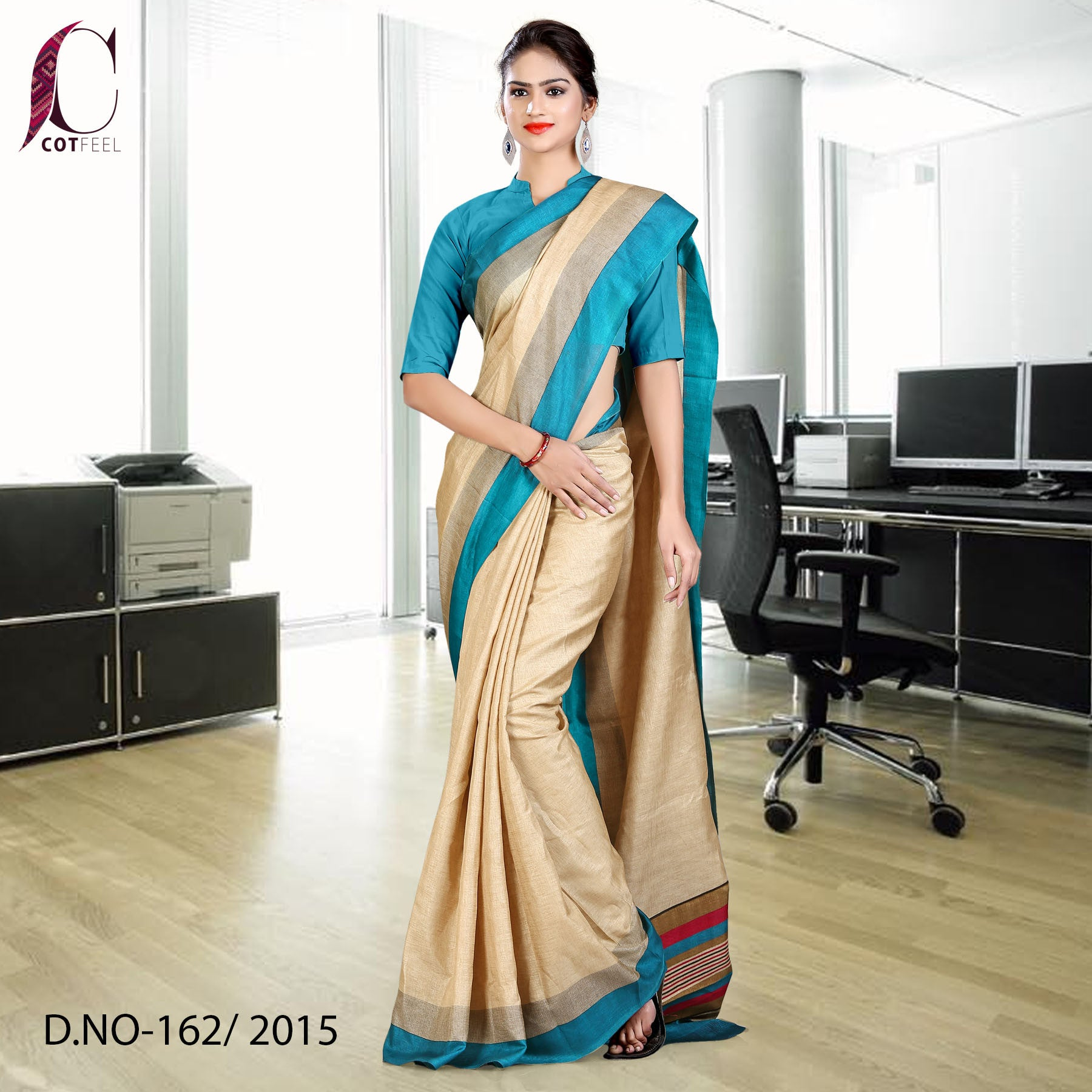 Sky blue and beige Tripura cotton uniform saree