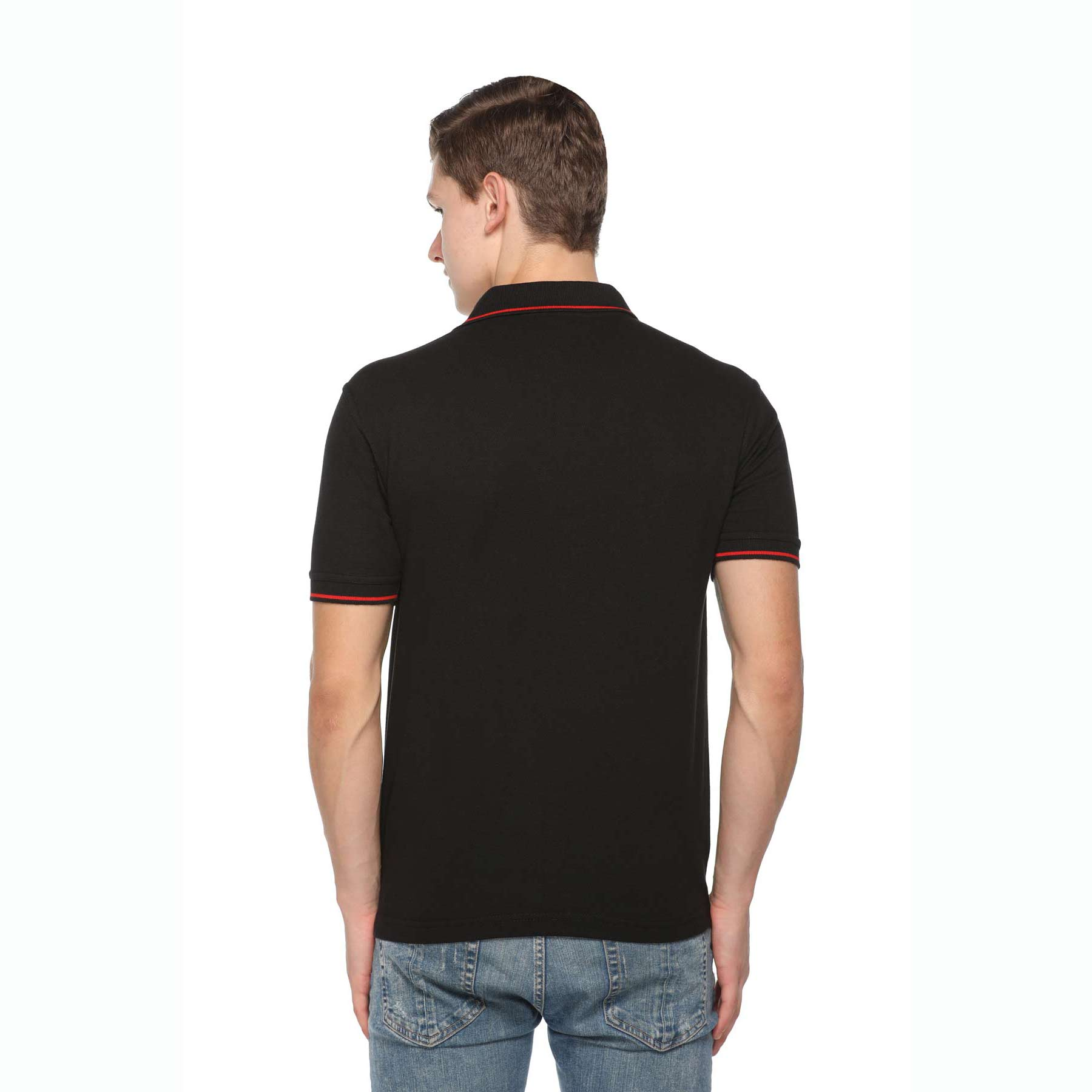 Men's Solid Cotton Blend Regular Fit Polo Neck Half Sleeve Highline T-Shirt