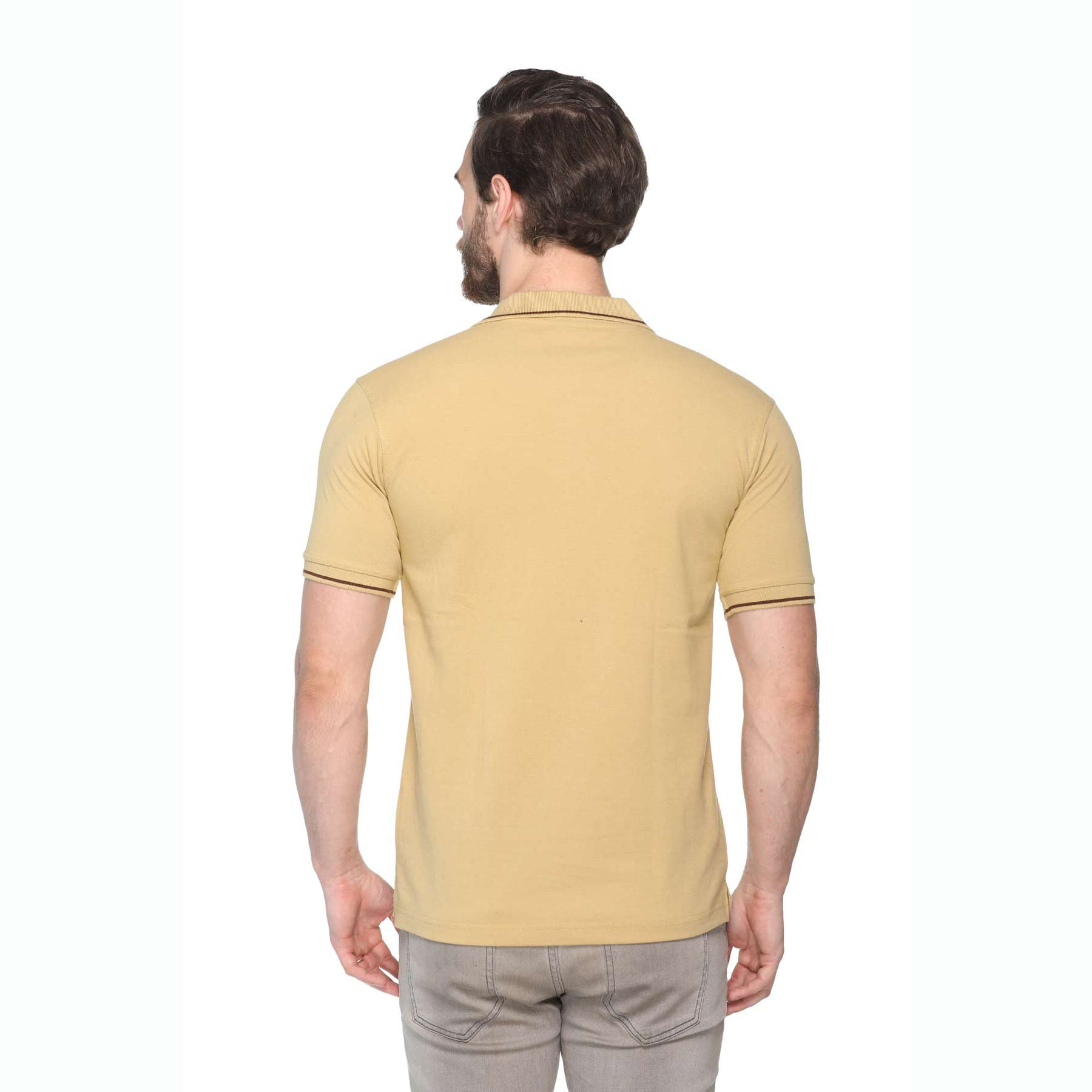 Men's Solid Cotton Blend Regular Fit Polo Neck Half Sleeve Highline T-Shirt (Green)