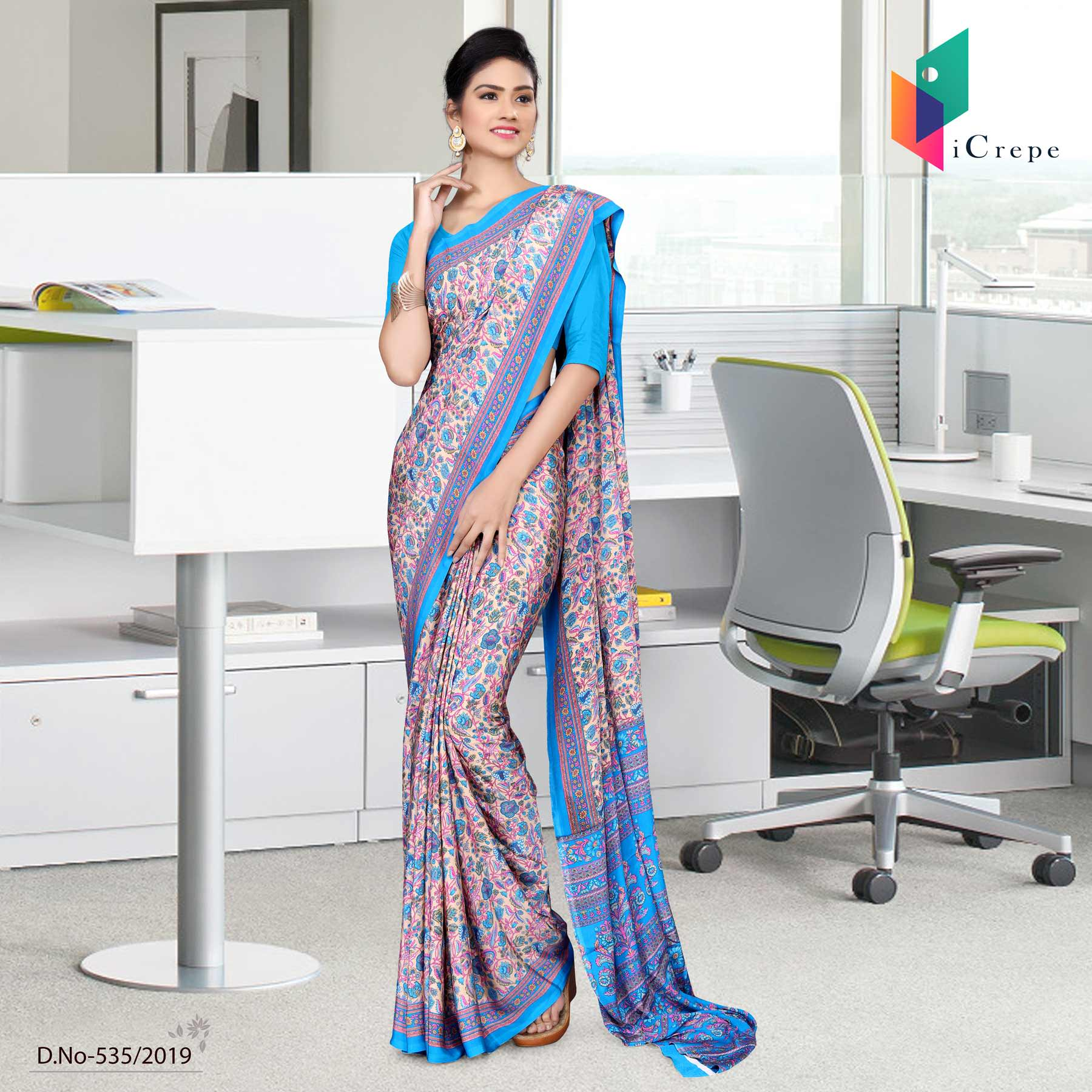 Beige and blue italian crepe silk handloom uniform saree