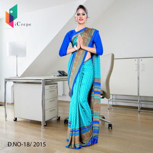 Sky blue Italian crepe uniform saree