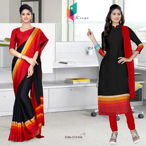 Black and red italian crepe silk staff uniform saree salwar combo