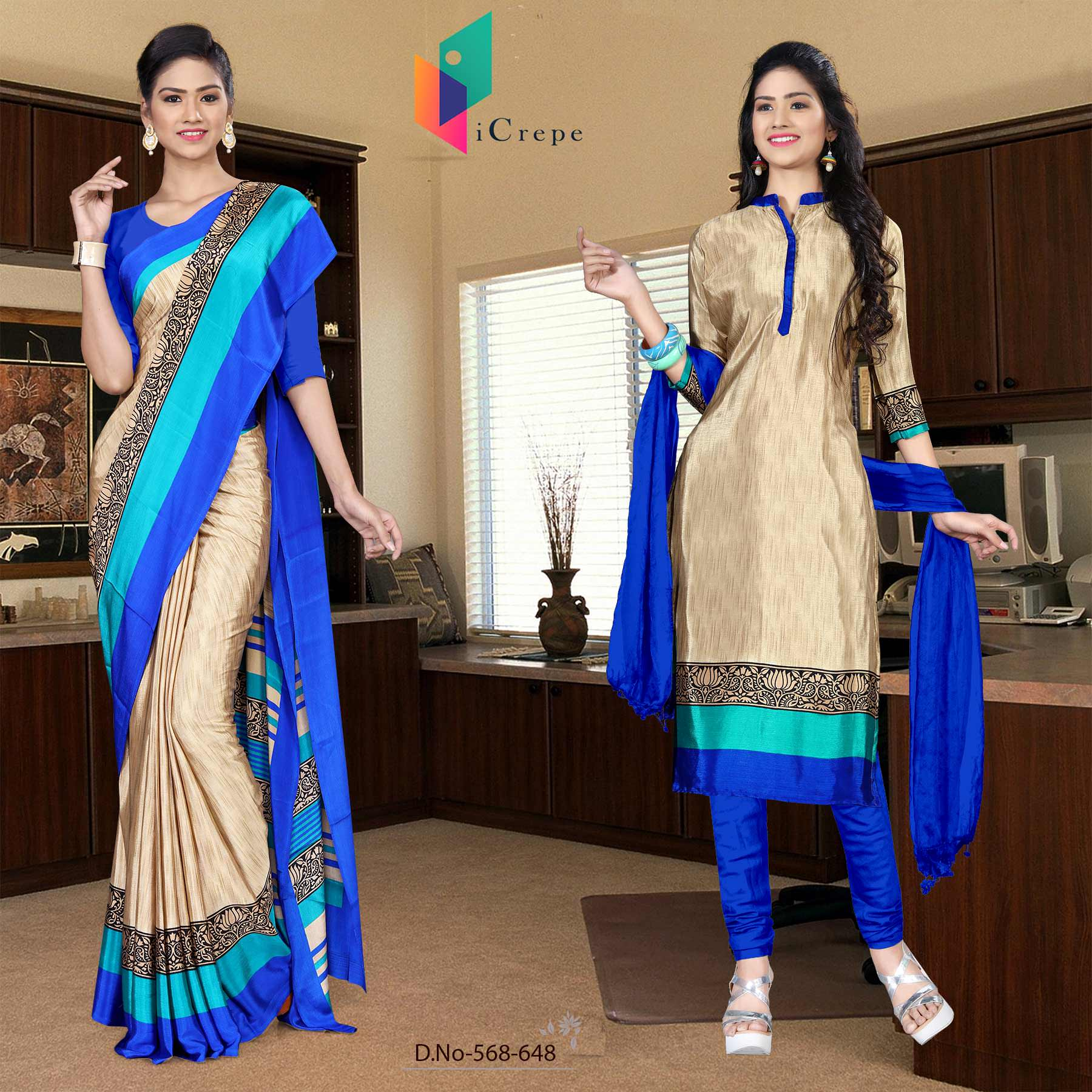 Off white and blue italian crepe silk office uniform saree salwar combo