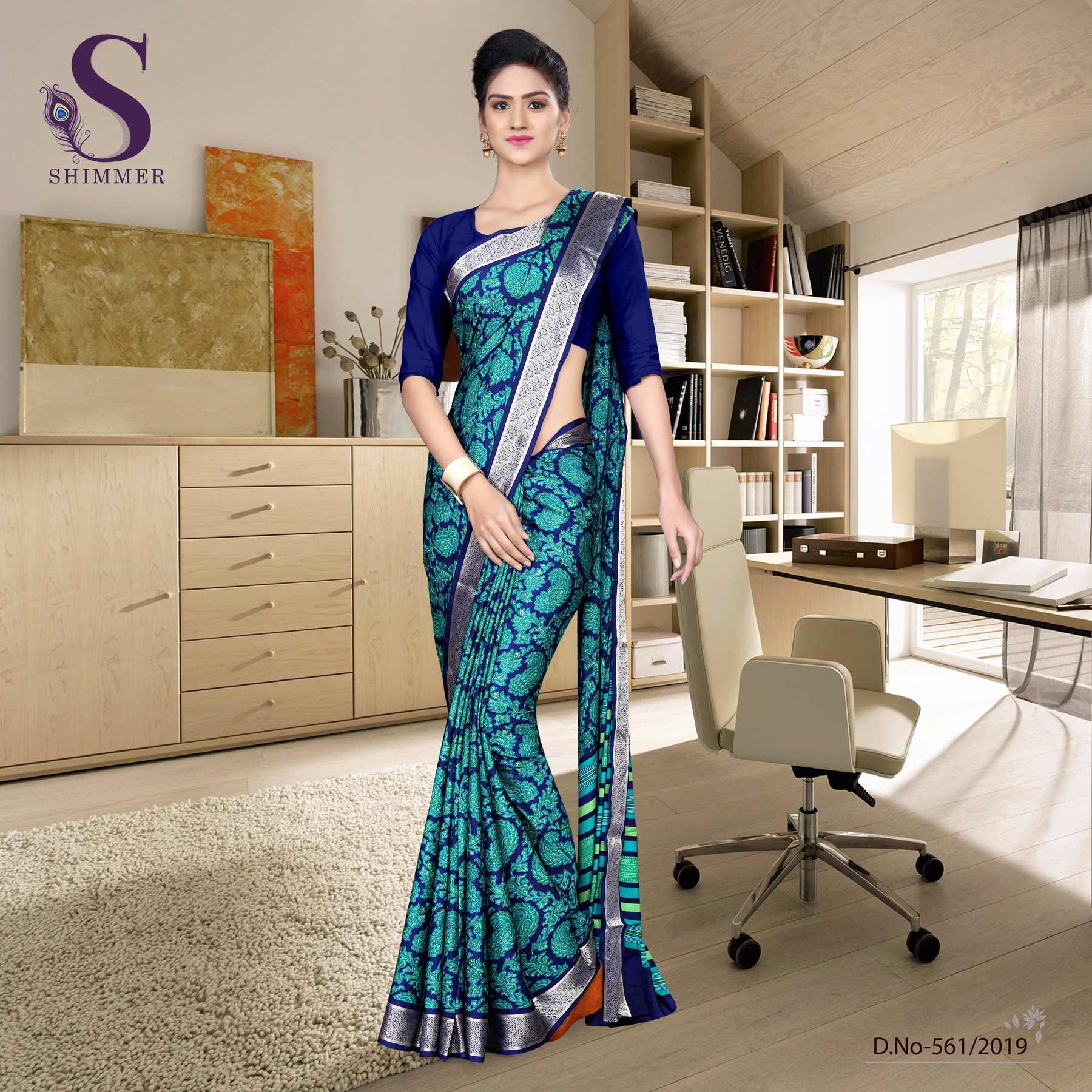 Green blue silk crepe jaquard border fancy uniform sarees
