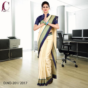 Cream and navy blue Tripura cotton uniform saree