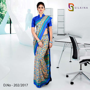 Blue silk georgette uniform saree