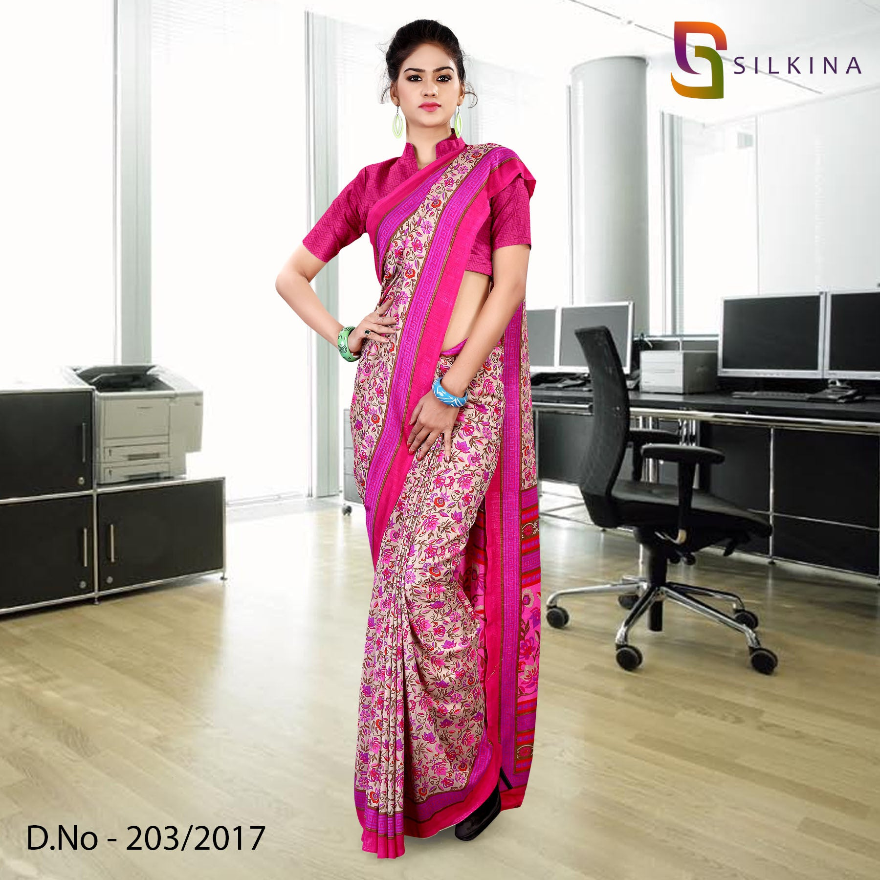 pink and magenta silk georgette uniform saree