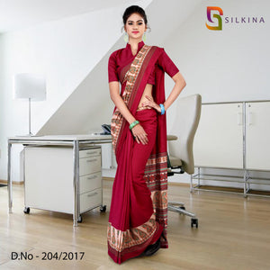 Wine silk georgette uniform saree
