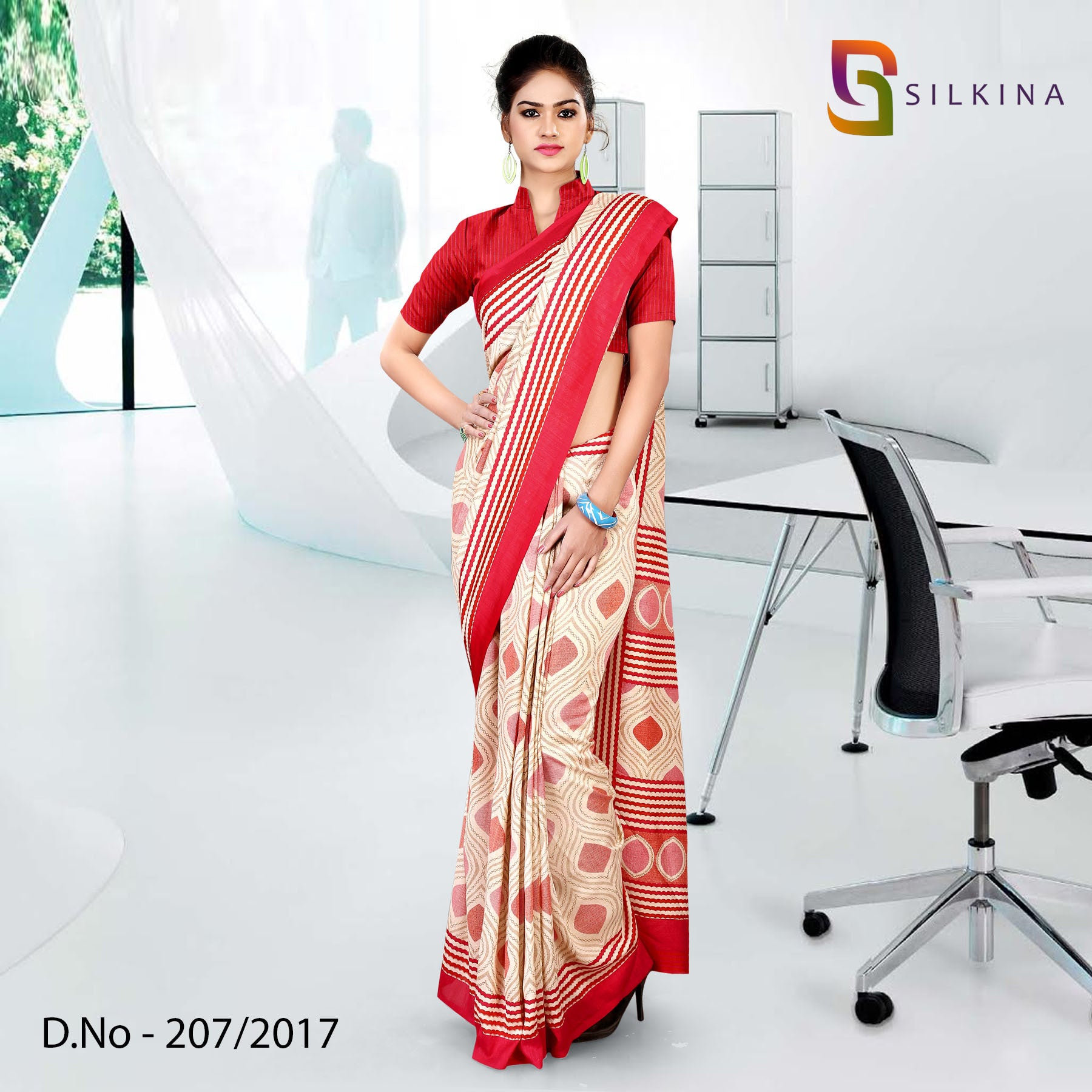 Red and beige silk georgette uniform saree