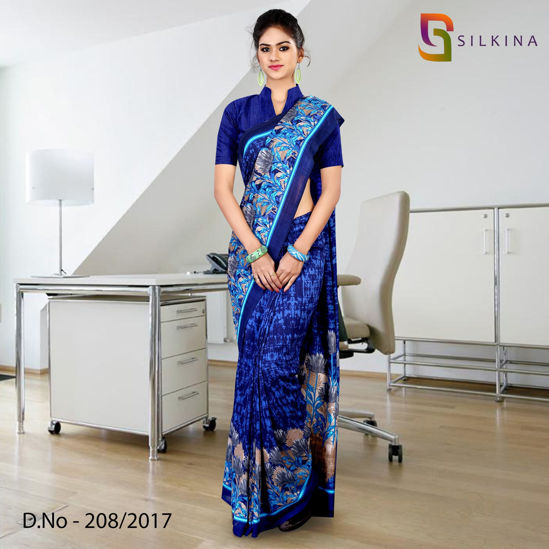 Dark blue silk georgette uniform saree