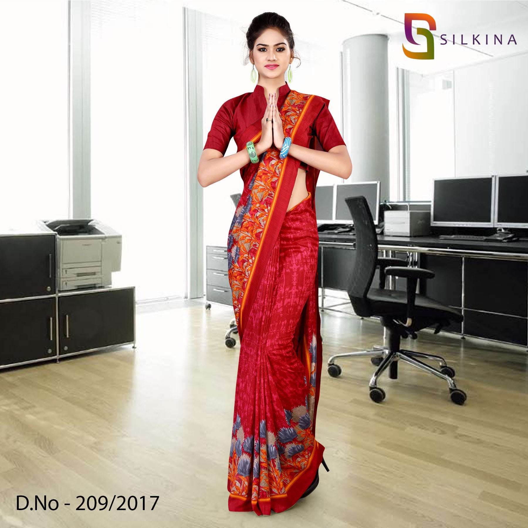 Red georgette silk uniform saree