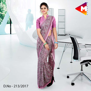 Pink georgette uniform saree