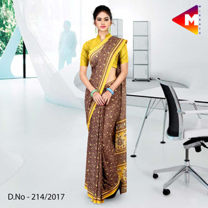 Brown and yellow georgette uniform saree