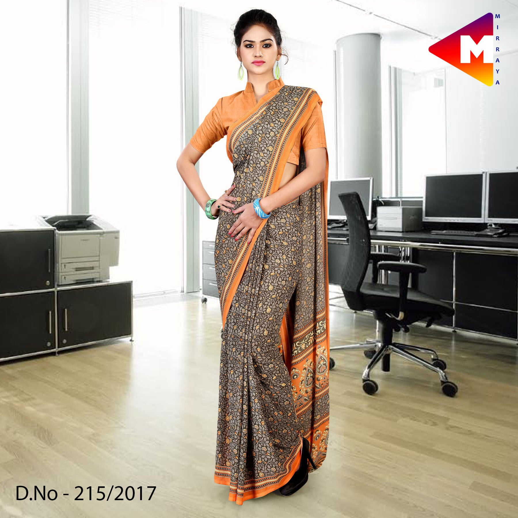 Grey and orange georgette uniform saree