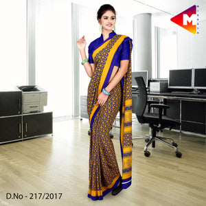 Yellow and blue georgette uniform saree