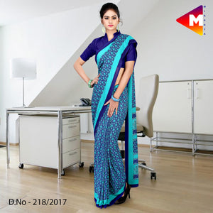 Blue georgette uniform saree