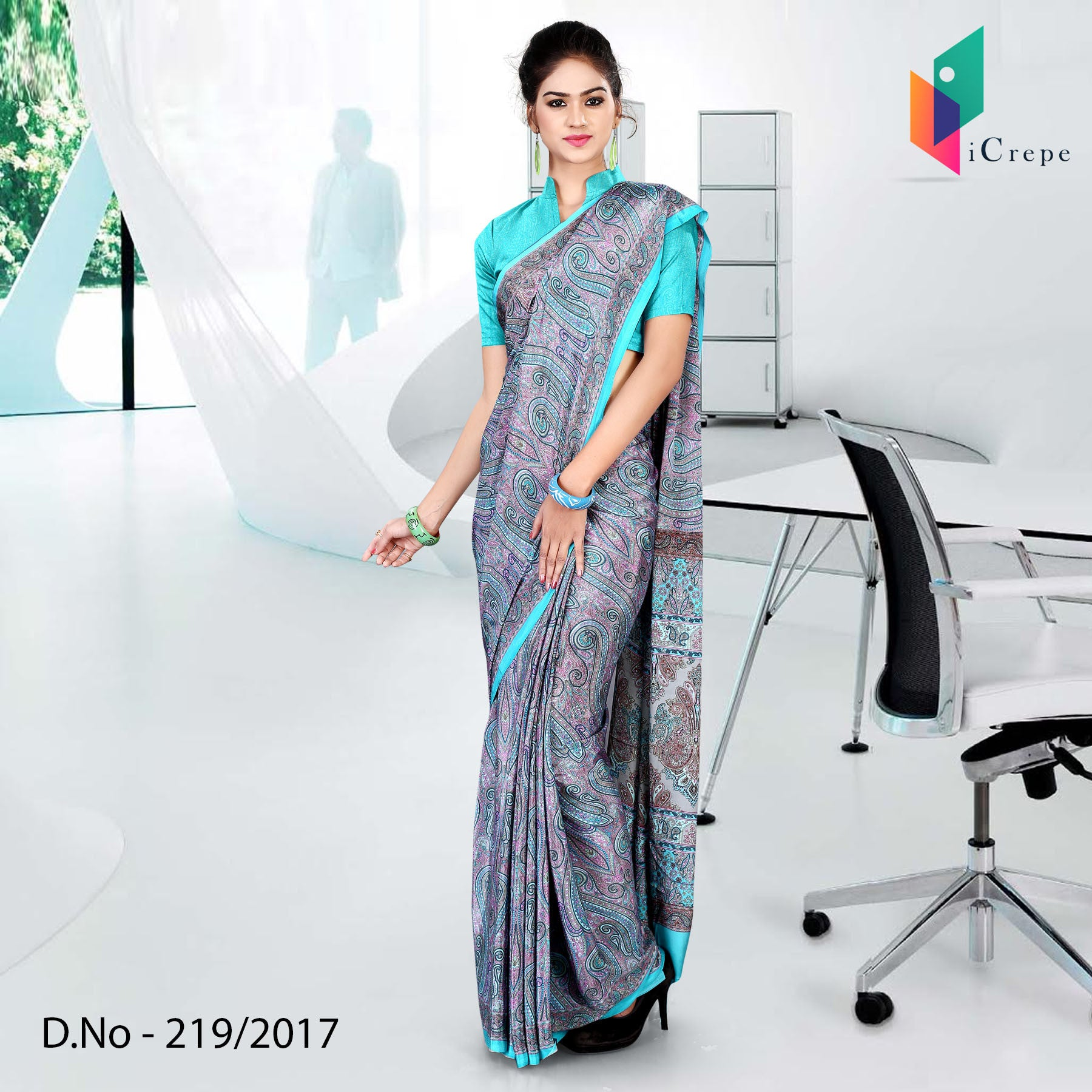 Purple and blue Italian crepe uniform saree