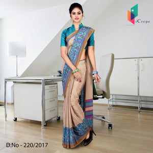 Green and brown Italian crepe uniform saree