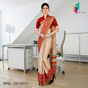 Red and brown Italian crepe uniform saree