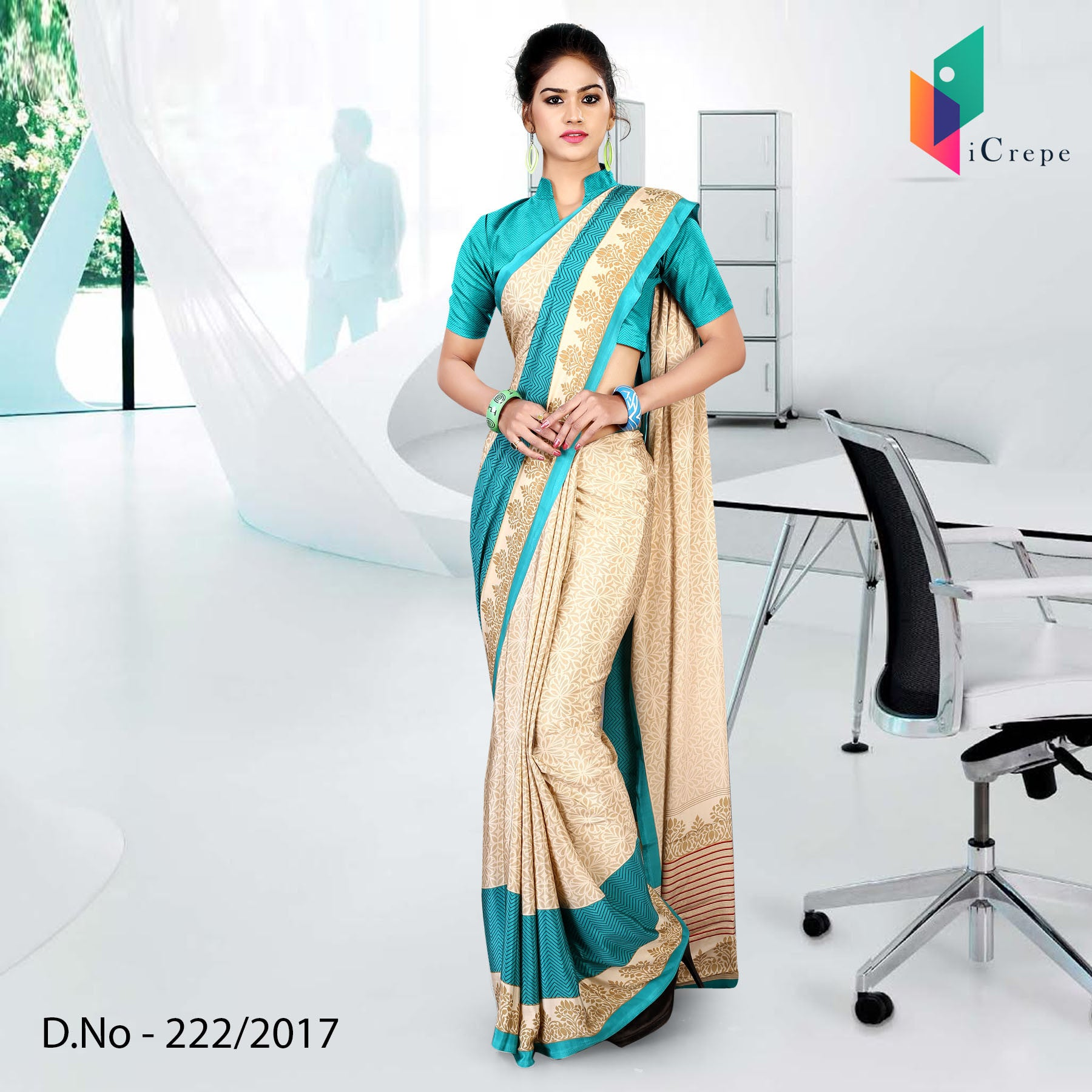 Beige and See Green Italian crepe uniform saree