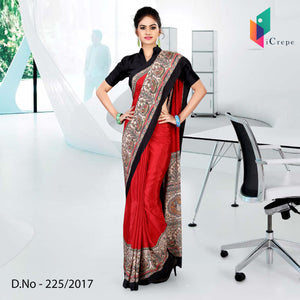 Red and black Italian crepe uniform saree