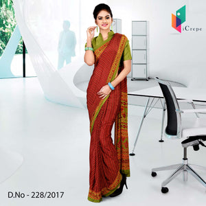 Maroon and green Italian crepe uniform saree