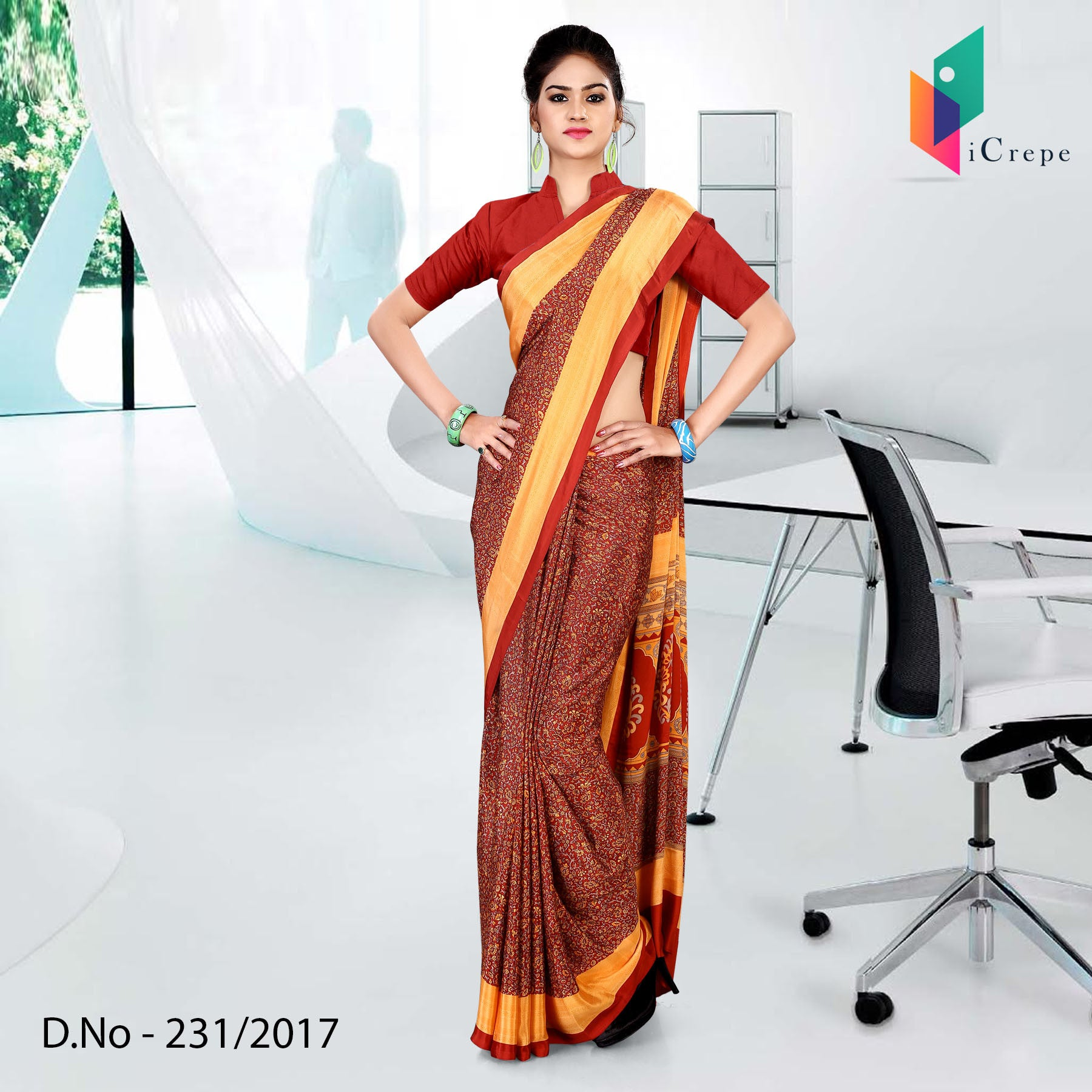 Maroon with orange border Italian crepe uniform saree