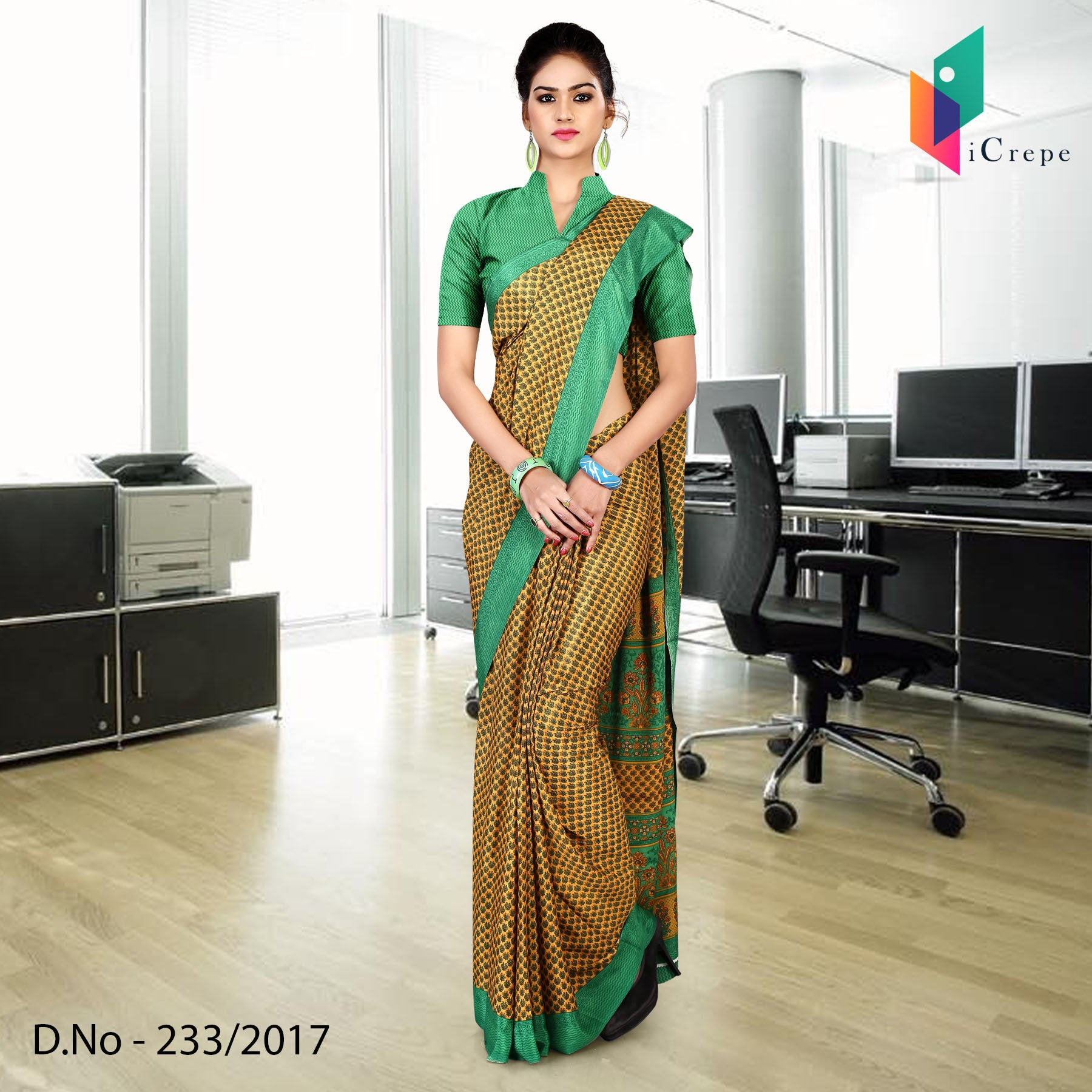 Green and yellow Italian crepe uniform saree
