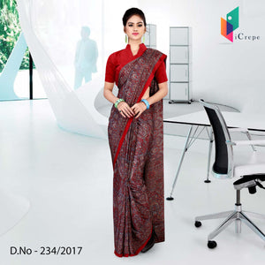 Red Italian crepe uniform saree
