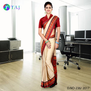 Beige and red jacquard crepe uniform saree