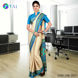 Sky blue and beige jacquard crepe uniform saree