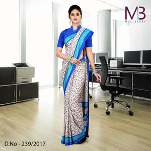 Blue and white mulberry silk uniform saree