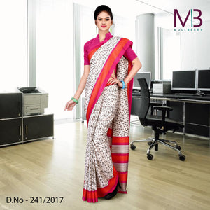 Pink and white mulberry silk uniform saree