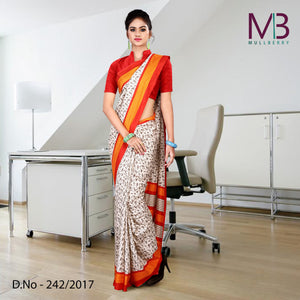 Yellow and white mulberry silk uniform saree