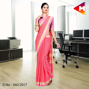 Pink Soft Georgette Uniform Saree for Office Employees