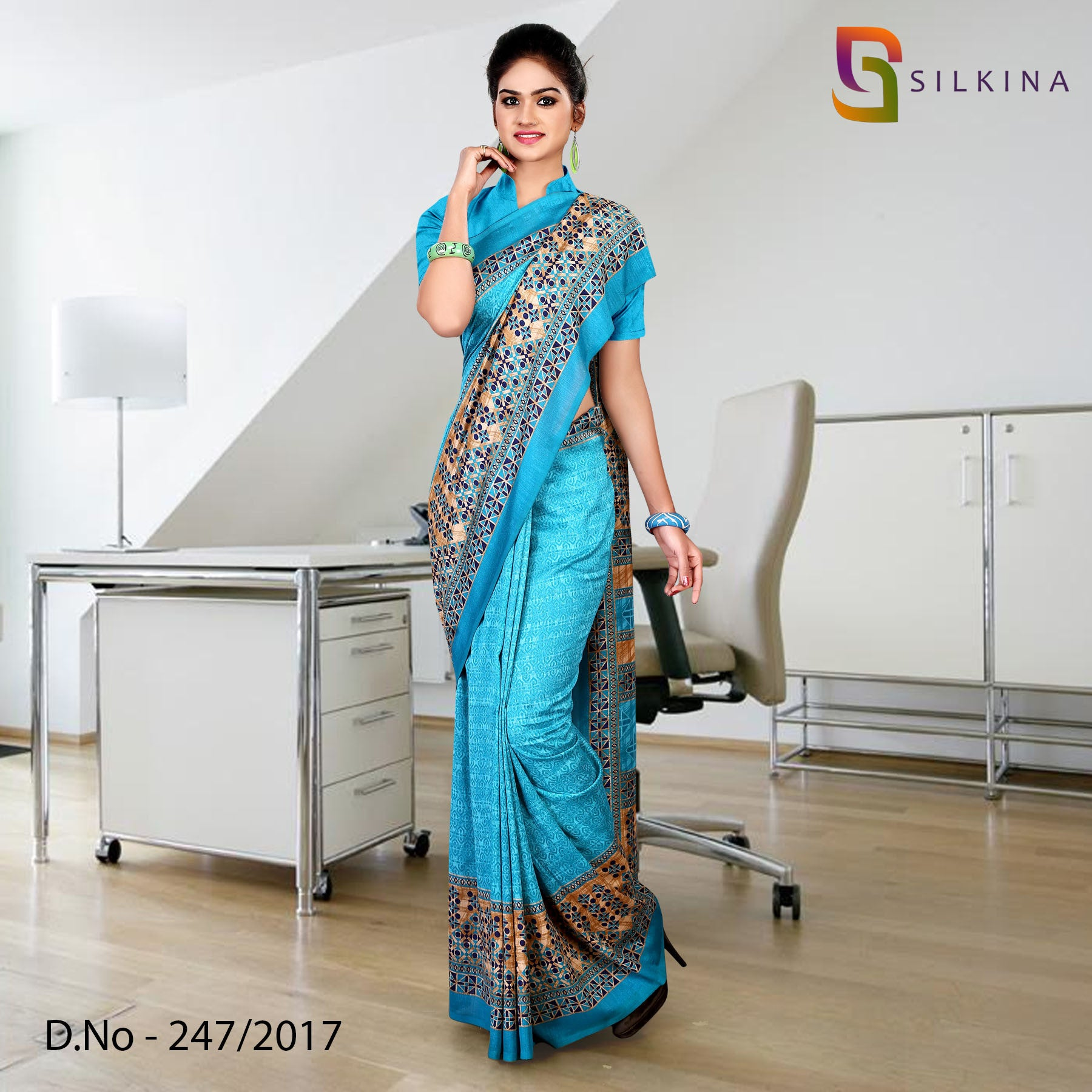 Sky blue silk georgette uniform saree