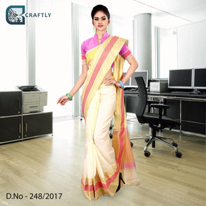 Cream and pink uniform saree