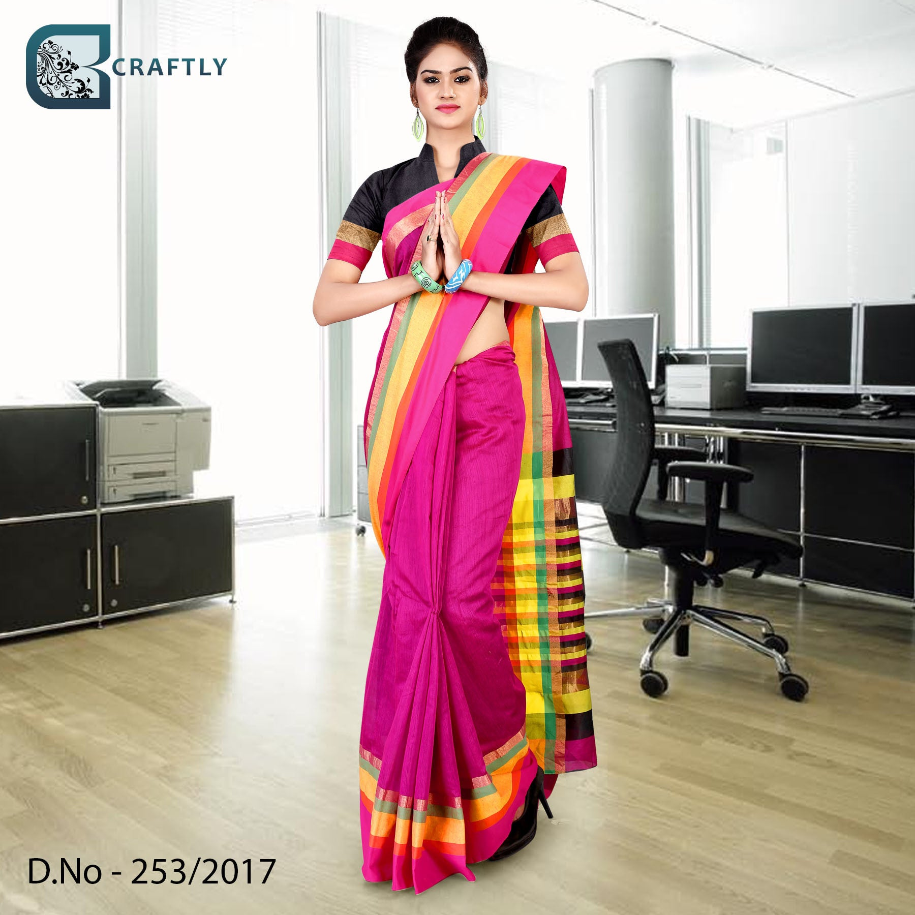 Magenta with yellow border uniform saree