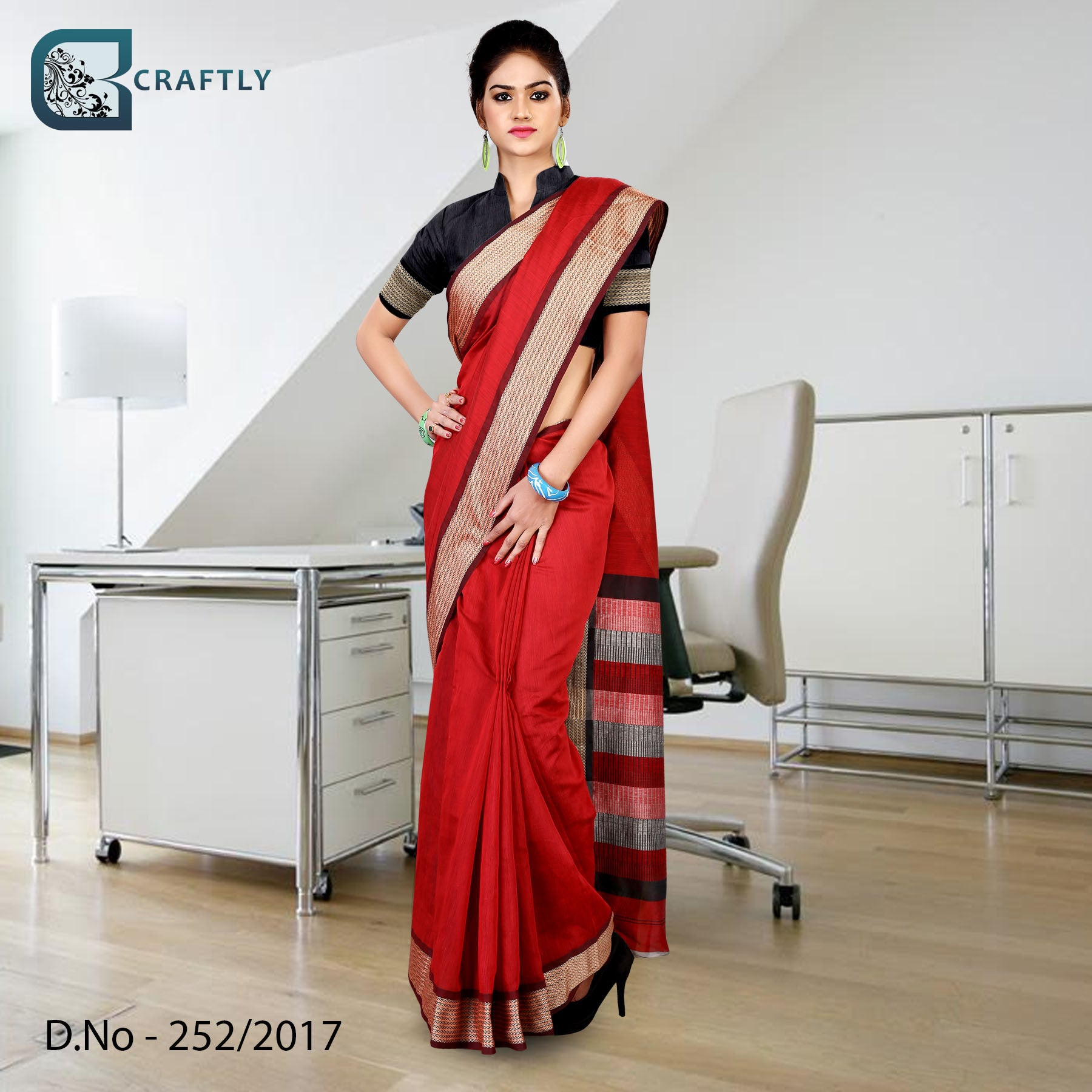 Red and black with golden border uniform saree