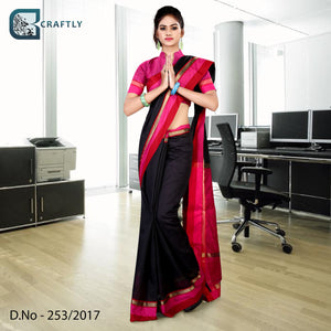 Black with pink border uniform saree