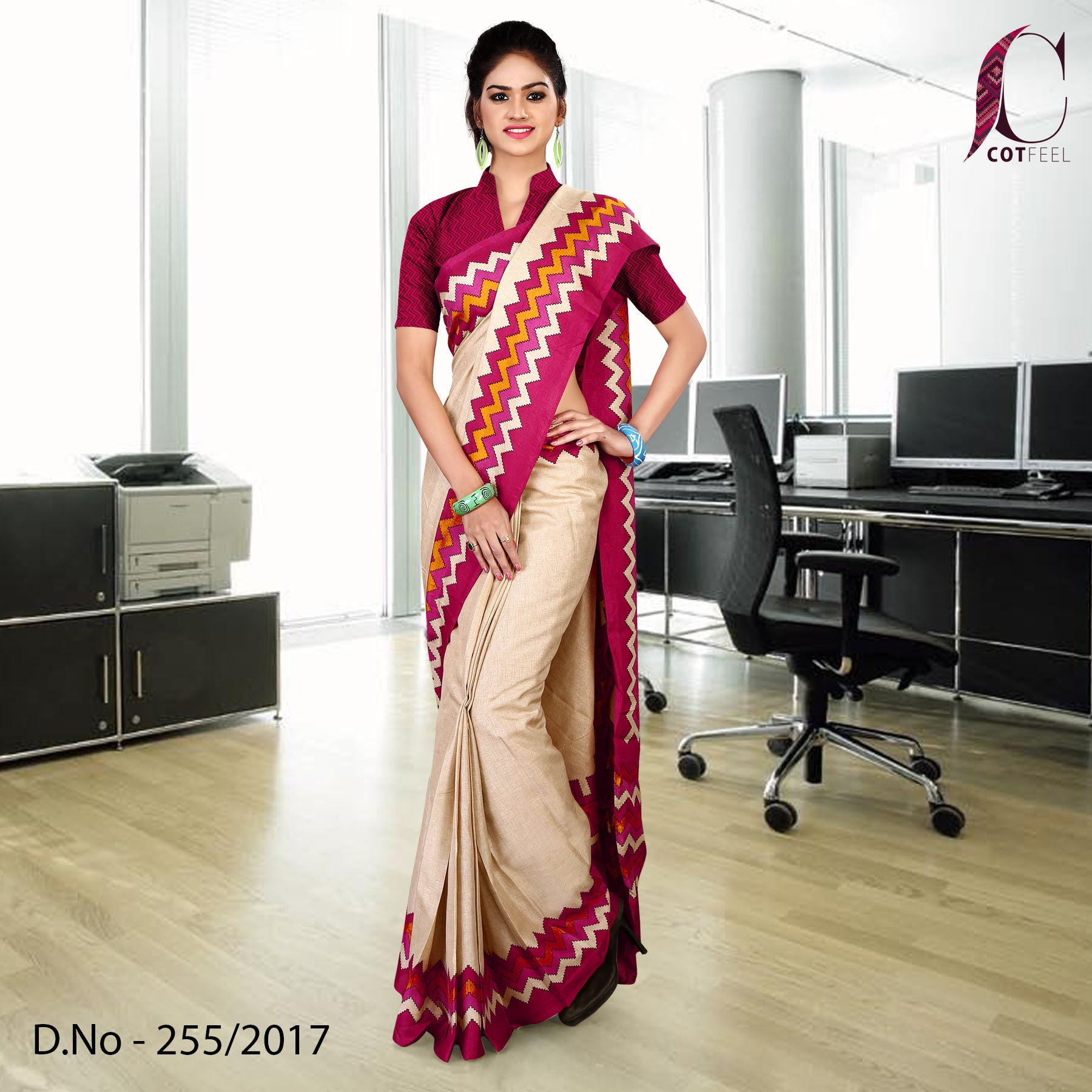 Magenta and cream Tripura cotton uniform saree