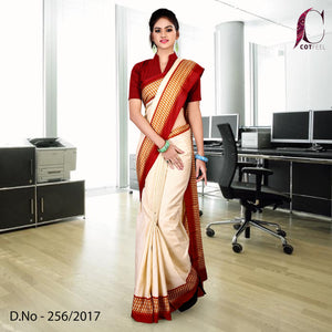 Red and cream Tripura cotton uniform saree
