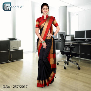 Black with red border uniform saree