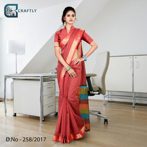 Pink with golden border uniform saree