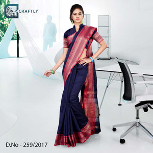 Blue with pink border uniform saree