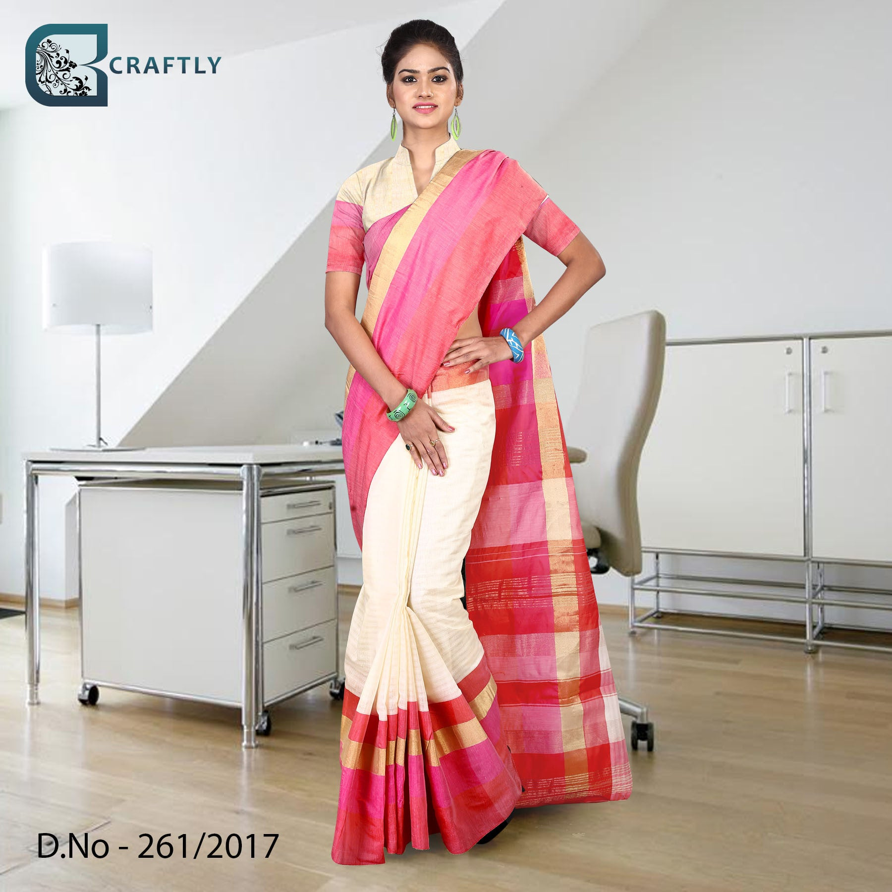 Pink and cream uniform saree