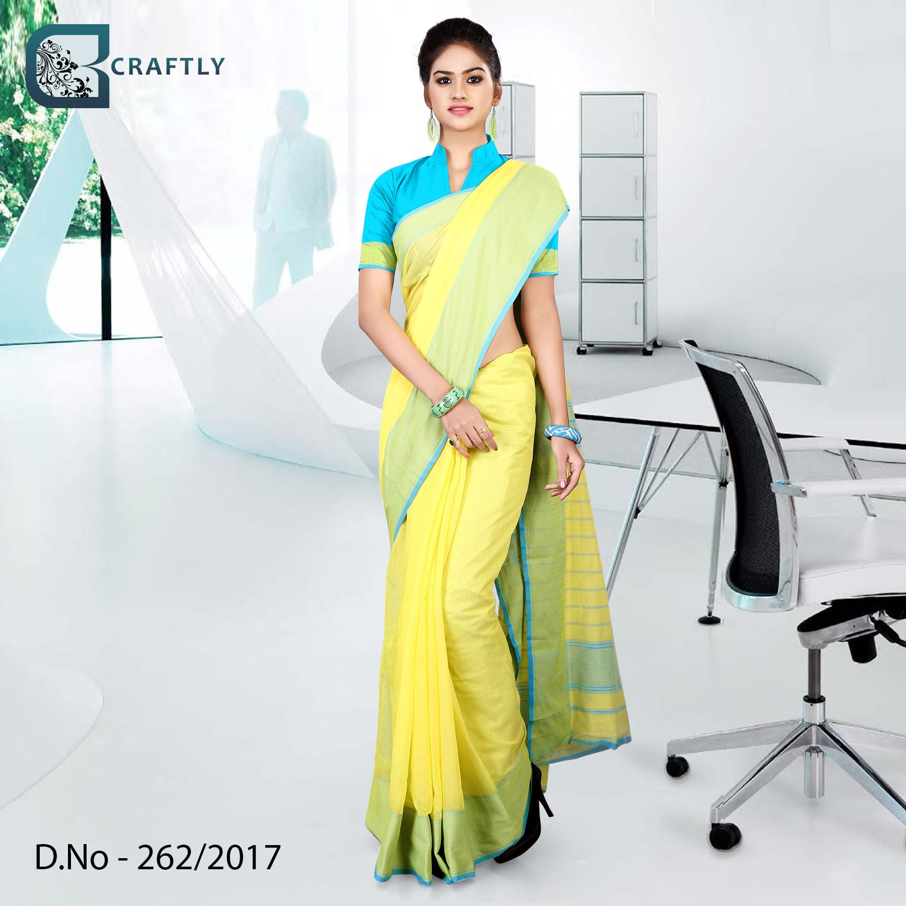 Yellow and blue uniform saree